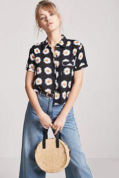Daisy Graphic Pocket Shirt