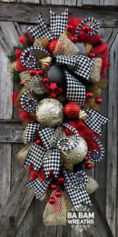 Ba Bam Wreaths, Red Gold Christmas Decor, Classic Christmas on Home Decor Ideas likely the 2 most trendy colors for trees are the red and white. The red trees have an offbeat want to them that is similar to a bad Kodachrome photo from the se Christmas Door Hangings, Gold Christmas Decorations, Christmas Swags, Holiday Wreaths, Christmas Ornaments, Winter Wreaths, Christmas Snowman, Classy Christmas, Rustic Christmas