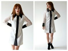 60s Black and White Lace Collar Dress- 6, 8, Deadstock NWT Vintage Dress, Sheer Sleeve Lolita Goth Shift Duster jacket
