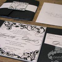 Black and Silver Flourish Wedding Invitation Suite. www.couture-invitations.com