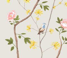 Jenny peony on mist fabric by domesticate on Spoonflower - custom fabric