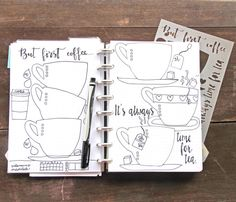 Coffee or Tea Bullet Journal Stencil, Fits 5X8 journals such as Moleskine and Leuchtturm
