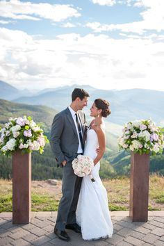 On top of the world, Vail Wedding Deck, Colorado Mountain wedding, bride and groom, after vows, ceremony shot