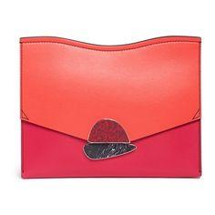 Proenza Schouler 'Curl' medium colourblock leather flap clutch ($1,035) ❤ liked on Polyvore featuring bags, handbags, clutches, leather flap handbags, proenza schouler purse, red purse, color block handbags and proenza schouler