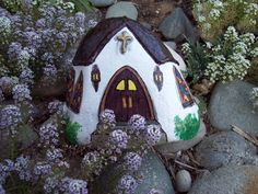 Painted White Church River Rock with Stained Glass