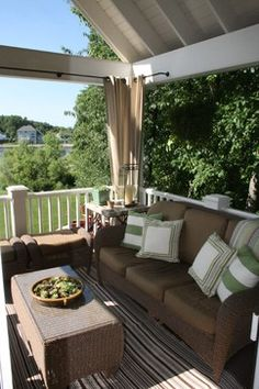 This would be great idea to block the sun on any patio, porch or deck. Porch Curtains, Outdoor Curtains, Shower Curtains, Hang Curtains, Privacy Curtains, Porch Ceiling, Grommet Curtains, Outdoor Living Areas, Outdoor Rooms