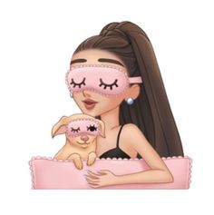 Ariana Grande wearing pink sleep mask and snuggling in bed with her pet dog.:).