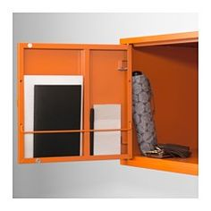 IKEA - LIXHULT, Cabinet, metal/orange, , Helps you keep track of small items like chargers, keys and wallets, or more bulky items like handbags and toys. It all depends on which of the 3 cabinet sizes you choose.Keep track of important papers, letters and newspapers by sorting them on the inside of the cabinet door.You can choose to install the door to the right or left, according to what fits the space best.