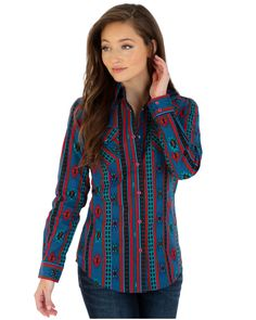 5574f749 Wrangler Women's Aztec Print Pearl Snap Western Shirt, Turquoise Western  Outfits, Western Show Shirts