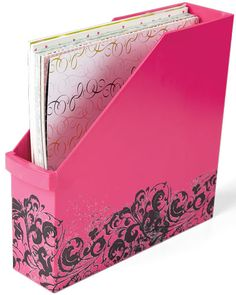Embellish a plastic vertical file with rub-ons.  From Creating Keepsakes magazine. #organize #organization #creatingkeepsakes #scrapbooking #scrapbook