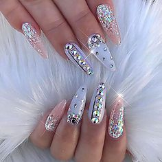 The advantage of the gel is that it allows you to enjoy your French manicure for a long time. There are four different ways to make a French manicure on gel nails. The choice depends on the experience of the nail stylist… Continue Reading → Nail Art Rhinestones, Rhinestone Nails, Bling Nails, Stiletto Nails, Glitter Nails, Bling Nail Art, Rhinestone Nail Designs, Coffin Nails, Swarovski Nails