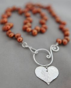 """Jennifer Engel Designs LLC - Orange Freshwater Pearls with """"S"""" Clasp & Heart Pendant Necklace, Hayden's Heart Collection, Handcrafted Jewelry"""
