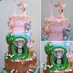 1 million+ Stunning Free Images to Use Anywhere Baby Girl 1st Birthday, First Birthday Cakes, 4th Birthday Parties, Woodland Cake, Woodland Party, Kawaii Diy, Sugar Craft, Little Cakes, Fondant Figures