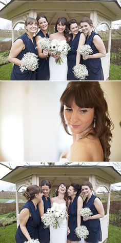 Navy, baby's breath, and blush pink.
