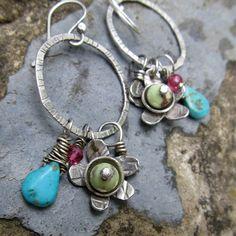 Hoop Earrings Wire Wrapped Long Dangling Green Gemstone by artdi