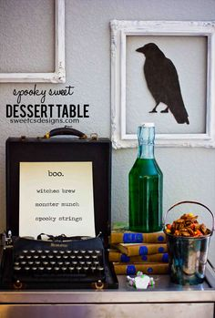halloween dessert table- this is a fun way to mix antiques and industrial elements for a gorgeous display (with great food, too!)