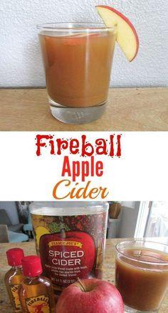Fireball Drinks, Fireball Recipes, Drinks Alcohol Recipes, Yummy Drinks, Drink Recipes, Alcoholic Beverages, Hot Fall Drinks Alcohol, Fireball Apple Cider Recipe, Meals