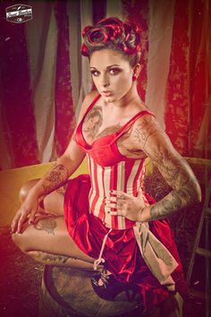 Red pinup girl, steampunk feel