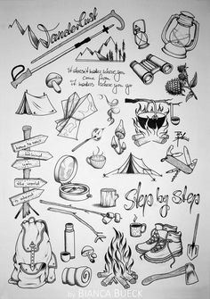 Tattoo Sketches, Drawing Sketches, Art Drawings, Line Drawing, Painting & Drawing, Hiking Tattoo, Camping Drawing, Natur Tattoos, Bullet Journal Art