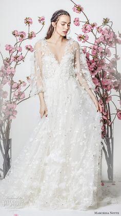 marchesa notte spring 2018 bridal three quarter sleeves v neck full embellishment romantic pretty a  line wedding dress (8) mv -- Marchesa Notte Spring 2018 Wedding Dresses