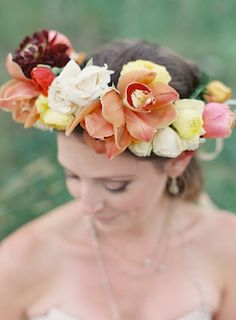 Mixed flower crown | Bryce Covey Photography and Bluebird Productions | see more on: http://burnettsboards.com/2014/09/indian-summer-heat-wave-wedding/