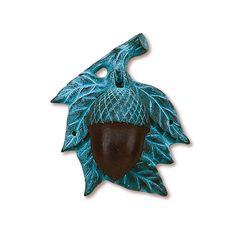 Gorgeous Brass & Blue Acorn Doorknocker!