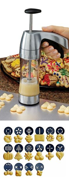 Wilton Cookie Pro Ultra II Cookie Press -Make 16 Shapes of Spritz Butter Cookies Spritz Cookies, Mini Cookies, Holiday Cookies, Spritz Cookie Press, Holiday Baking, Christmas Baking, Christmas Time, Cookie Recipes, Dessert Recipes