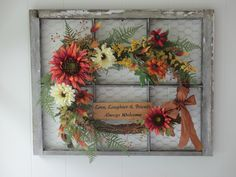 Chippy paint window frame with chicken wire and wreath by Joan Larson of Garland on the Gate