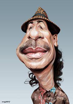 musician guitarist Carlos Santana by Sebastian Cast Cartoon Faces, Funny Faces, Cartoon Art, Funny Caricatures, Celebrity Caricatures, Kerry King Slayer, Sketch Manga, Caricature Drawing, Caricature Artist