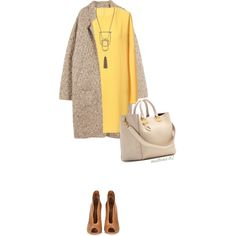 A fashion look from January 2015 featuring yellow dress, brown cardigan и peep-toe booties. Browse and shop related looks.