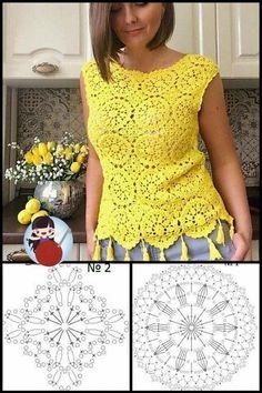 Débardeurs Au Crochet, Crochet Round, Crochet Cardigan, Crochet Tank, Irish Crochet, Crochet Thread Patterns, Granny Square Crochet Pattern, Crochet Squares, Crochet Designs