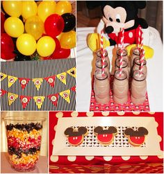 great ideas for Mickey Mouse themed birthday party - like the colored popcorn detail!
