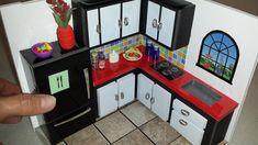 Boomer & George Pet Feeder Station Furniture Built In Home Kitchen Laundry Room - Ciki Ciki Cardboard Dollhouse, Cardboard Crafts, Dollhouse Dolls, Miniature Dollhouse, Miniature Houses, Mini Kitchen, Miniature Kitchen, Toy Kitchen, Kitchen Sets