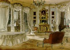 Concept art of Scarlett O'Hara's bedroom at the Butler House.