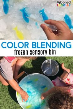 Sensory Frozen Colour Blending: Colours are very important. Start this valuable life lesson with this fun sensory frozen colour blending activity. #sensory #boredtoddler #toddleractivities #toddlercrafts #sensoryplay Sensory Activities Toddlers, Outdoor Activities For Kids, Parenting Toddlers, Sensory Bins, Motor Activities, Infant Activities, Sensory Play, Toddler Preschool, Sensory Table