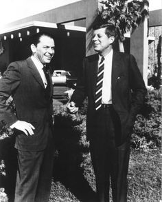 Frank Sinatra and John F. Kennedy in front of the Sands Hotel in this old Las Vegas photo.