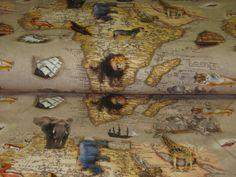 Stoffe gemustert - Jersey Digital Druck Afrikas Tier-Weltka... - ein Designerstück von Retro-Stoff-Cafe bei DaWanda