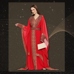We can't help but fall in love with this glamorous Cocktail Party Caftan Dress each time we look at it! Wear this to your next henna party for a bright, bold and beautiful look! Product no: 8879