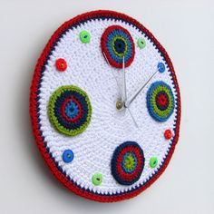 Retro red crochet wall clock with circles and buttons by crocheTime on Etsy.