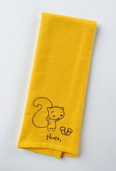 A personal favorite from my Etsy shop https://www.etsy.com/listing/467768784/nuts-yellow-squirrel-hand-towel-acorn