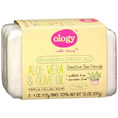 Ology Triple Milled Soap Bars, 3 Pack Fragrance Free. This soap is a sensitive skin formula and has no harmful chemicals.  Sulfate and paraben free Vegan Not tested on animals Made in USA