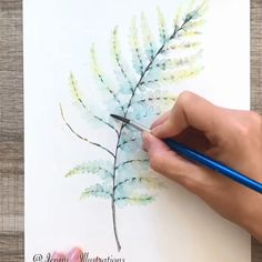 Watercolor Paintings of Leaf.me (Worldwide Tracked Shipping) - Aquarell Malen Watercolor Painting Techniques, Watercolour Tutorials, Watercolour Painting, Watercolor Flowers, Painting & Drawing, Feather Painting, Leaf Drawing, Watercolor Projects, Painting Videos
