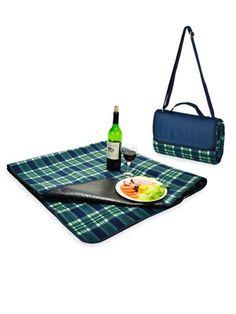 Outdoor Picnic at Ascot Fleece Picnic Blanket Tote Green Plaid Beach Blanket, Picnic Blanket, Outdoor Blanket, Picnic At Ascot, Picnic In The Park, Simple Bags, Cozy Blankets, Outdoor Fun, Outdoor Dining
