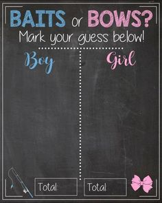 Baits or Bows. Gender Reveal Guess sign. baby shower chalkboard PRINTABLE poster boy or girl. gender reveal party decorations. fishing