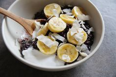 Coconut, bananas, seeds and nuts, topping black rice for breakfast - I think it will make a lovely dinner for me.