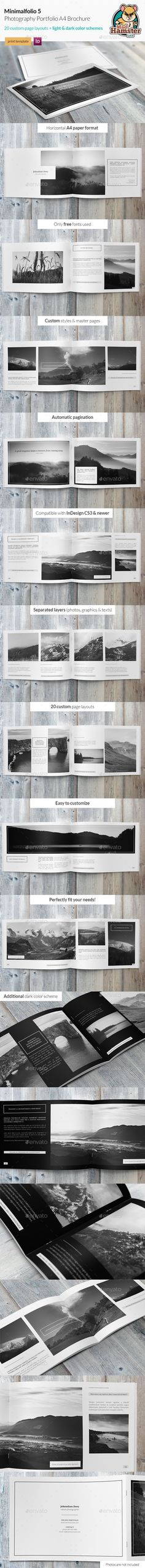 Minimalfolio 5 Photography Portfolio A4 Brochure — InDesign INDD #catalog #clean • Available here → https://graphicriver.net/item/minimalfolio-5-photography-portfolio-a4-brochure/9584227?ref=pxcr