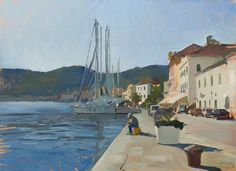 Painting of a fisherman on Vis.