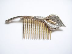 Rhinestone Hair Comb Calla Lily Brooch by EmbracingYesterday