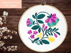 Cross Stitching, Cross Stitch Embroidery, Embroidery Patterns, Cross Stitch Collection, Pattern Flower, Modern Cross Stitch Patterns, Wool Applique, Mosaic Art, Hobbies And Crafts