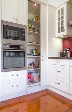 New sliding door ikea kitchen cabinets ideas Kitchen Pantry Design, Diy Kitchen Storage, Modern Kitchen Design, Home Decor Kitchen, Interior Design Kitchen, Home Kitchens, Kitchen Corner Cupboard, Corner Pantry, Kitchen Cabinets Sliding Doors